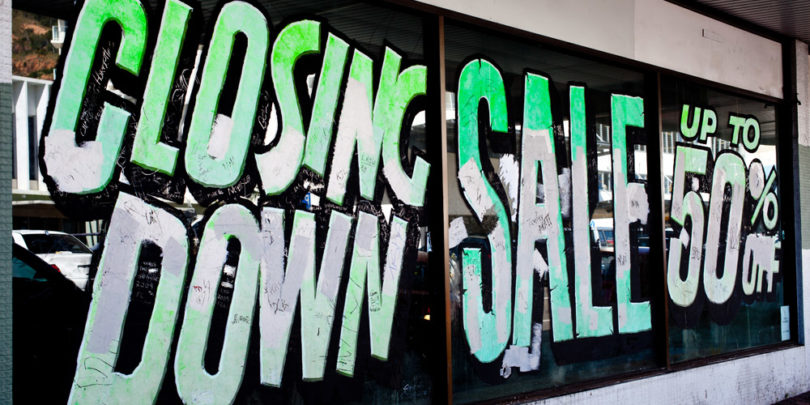 closing down sale sign going out of business