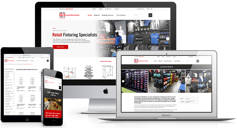 ADP Store Fixtures eCommerce website was designed and developed by web design Perth company Lethal