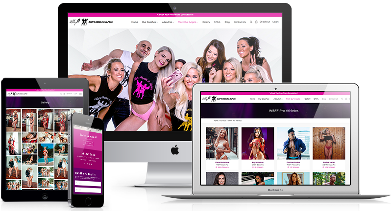 The fitness website for Ally's Angels and Alphas was designed by leading fitness website company Lethal