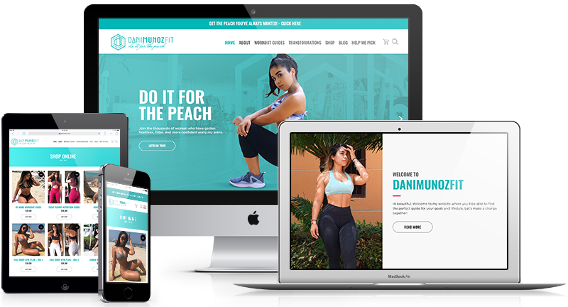 eCommerce website designed for Dani Munoz fitness brand